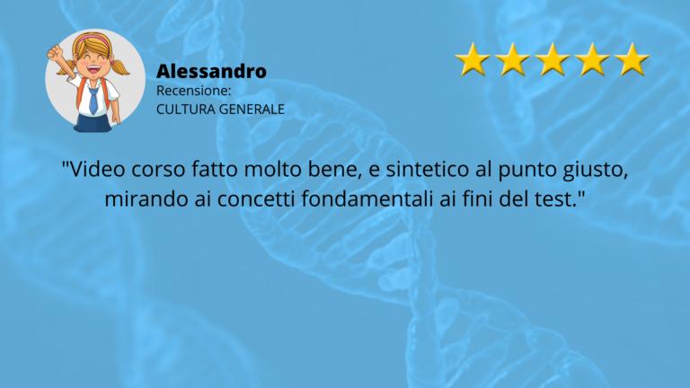 RECENSIONE TEST MEDICINA ALESSANDRO CULTURA GENERLAE