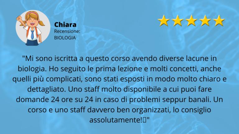 RECENSIONE TEST MEDICINA BIOLOGIA CHIARA